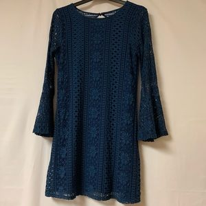 Francesca's Dress Lace Bell Sleeve Navy Blue